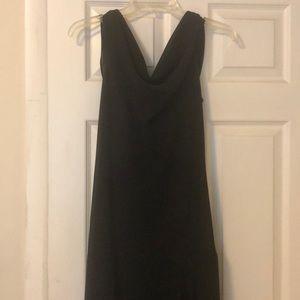 Black long chiffon dress